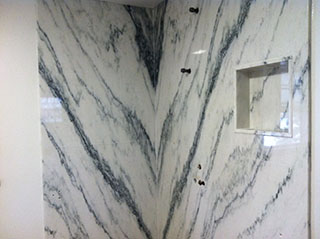 book matching stone technique in marble shower install